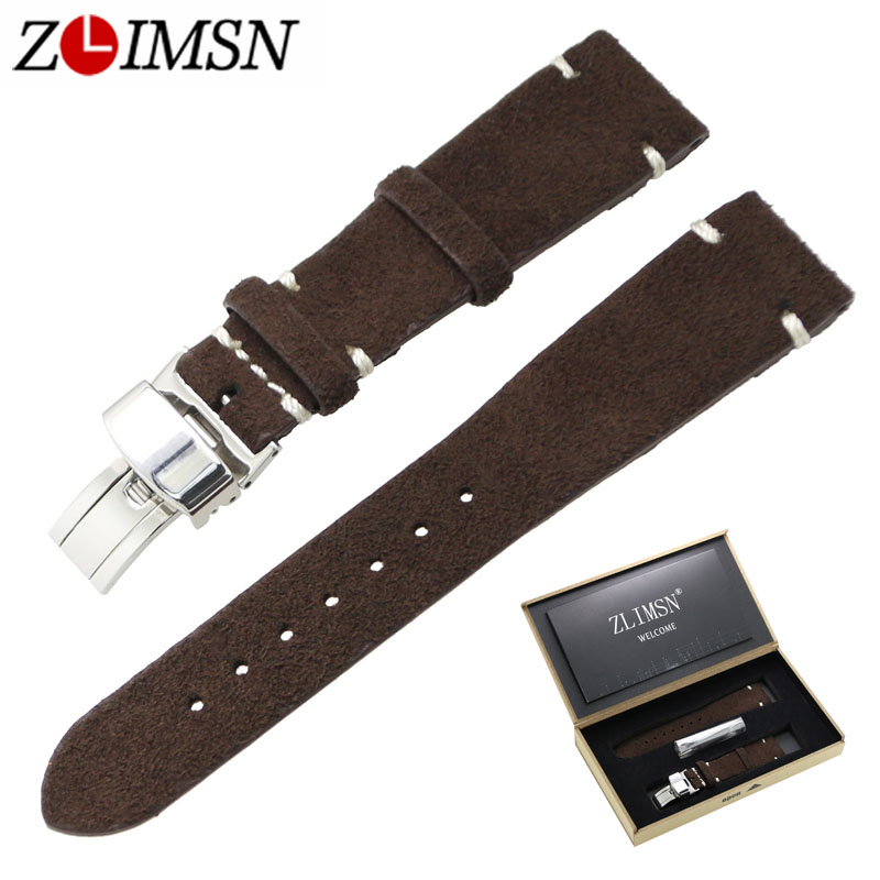 ZLIMSN Genuine Leather Watch Band 20mm Replacement Grey Brown Black Yellow Watch Strap Polished Stainless Steel Butterfly Buckle zlimsn thick genuine leather watch band 20 22 24 26mm strap belt replacement stainless steel skull buckle relojes hombre