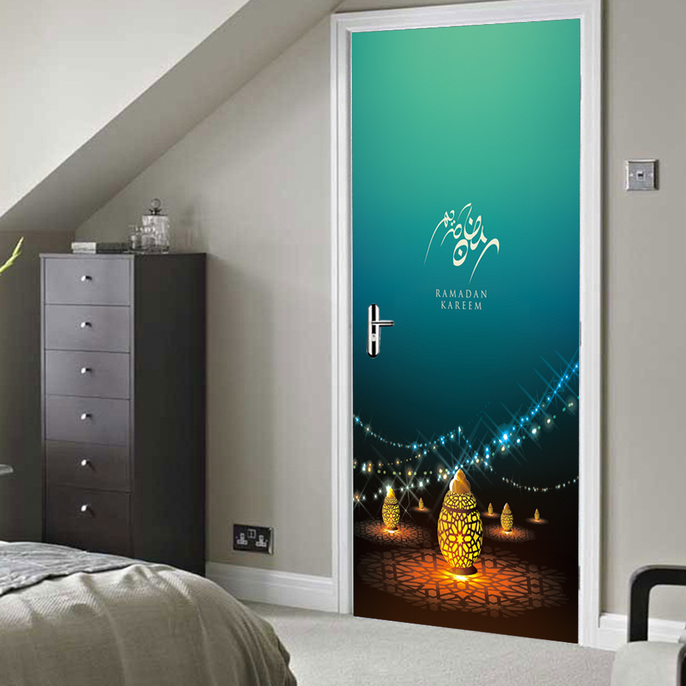 Mosque Home Mural Poster Sofa Wall Decoration Islamic Lantern Vinyl Door Stickers Muslim Arabic Art Wall