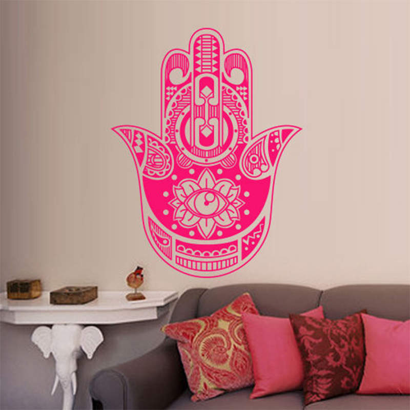 New Hamsa Wall Decal India Amulet Protection Yoga Buddhism Hand Eye of Fatima 56x73cm