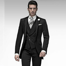 Latest Designs Italian Black Mens Suits Wedding Man Blazers Groom Tuxedos Single Breasted Bridegroom Wear 3piece Evening Party