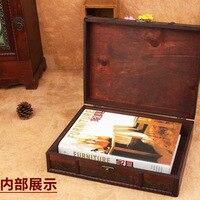 Retro Antique Decorative Gift Box double belt Wood Desktop Storage Box Wooden Jewelry Storage Organizer Copper Nails Home Decor