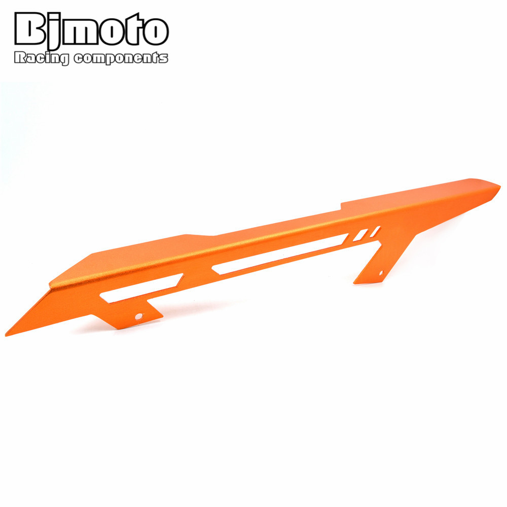 BJMOTO Motorcycle CNC Aluminum Orange Chain Guard Cover For KTM DUKE 390 2013-2018 DUKE 125 200 Duke 250 2017-2018 for ktm logo 125 200 390 690 duke rc 200 390 motorcycle accessories cnc engine oil filter cover cap