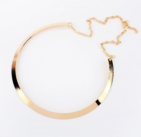 2015 Hot Sale Chunky Necklace Gold and Silver Plating Punk Style Choker Necklace Jewelry Collier Necklaces For Women RO-NJ-77