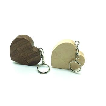 LOGO customized wooden Heart USB Flash Drive Pendrive 64GB 32GB 16GB 8GB U Disk USB 2.0 Memory Stick photography wedding gifts