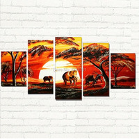 handpainted Large 5 Piece Wall Art Elephant Africa oil Paintings Africa landscape for lobby home office wall decoration