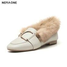 NEMAONE Winter Women Flat shoes Fur single shoes woman fashion shoes square Toe Shallow shoes for woman large size 42