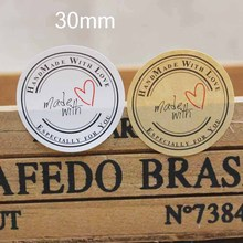 100pcs handmade with love sticker seal label white/kraft paper self adhesive gifts /products note label sticker size 3cm