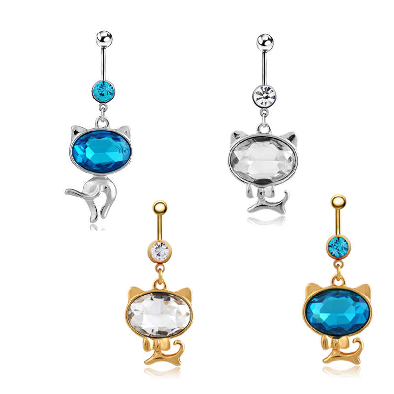 Illuminati 2016 New Arrival crystal Cat  Animal Piercing Navel Ring 316L Steel Plug Belly Button Ring Sexy Body Men Jewelry1034