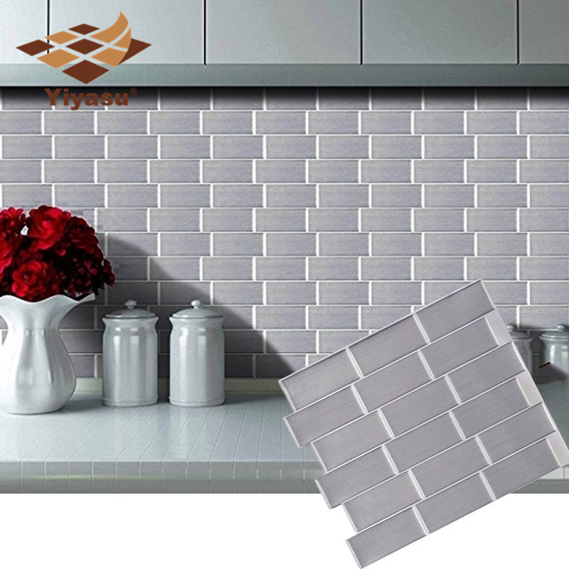 Silver Subway Tile Self Adhesive Peel And Stick Backsplash