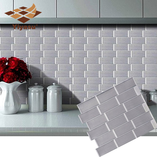 Silver Subway Tile Self Adhesive L And Stick Backsplash Brick Wall Sticker Vinyl Bathroom Kitchen Home