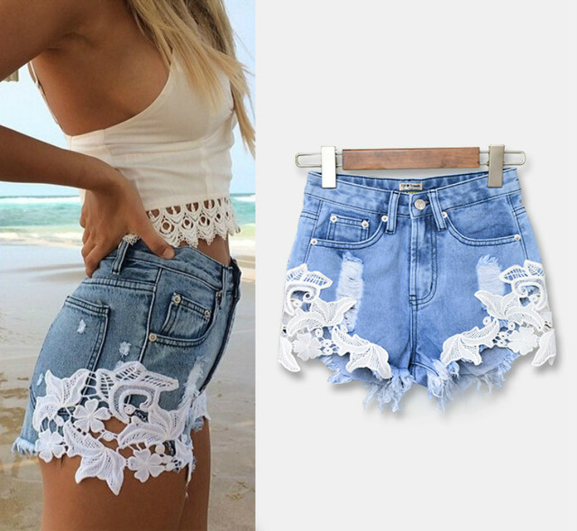 Mujer High Jeans Bermuda Comfortable Shorts Feminina Short Jeans Cropped Women Waist 2017 Hot Cotton Lace Blue Sale Fashion Sexy gnYqgET6