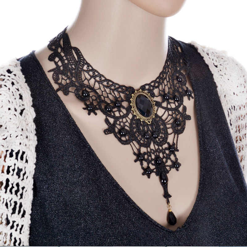 فيليشي القوطية الشرير نمط جوهرة الديكور النساء الأسود الدانتيل الخرز المختنق طوق قلادة Chocker مجوهرات