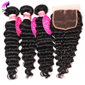Brazilian Deep Wave With Closure Curly Weave Human Hair With Closure 4 Bundle With Closure Deep Wave Brazilian Hair With Closure