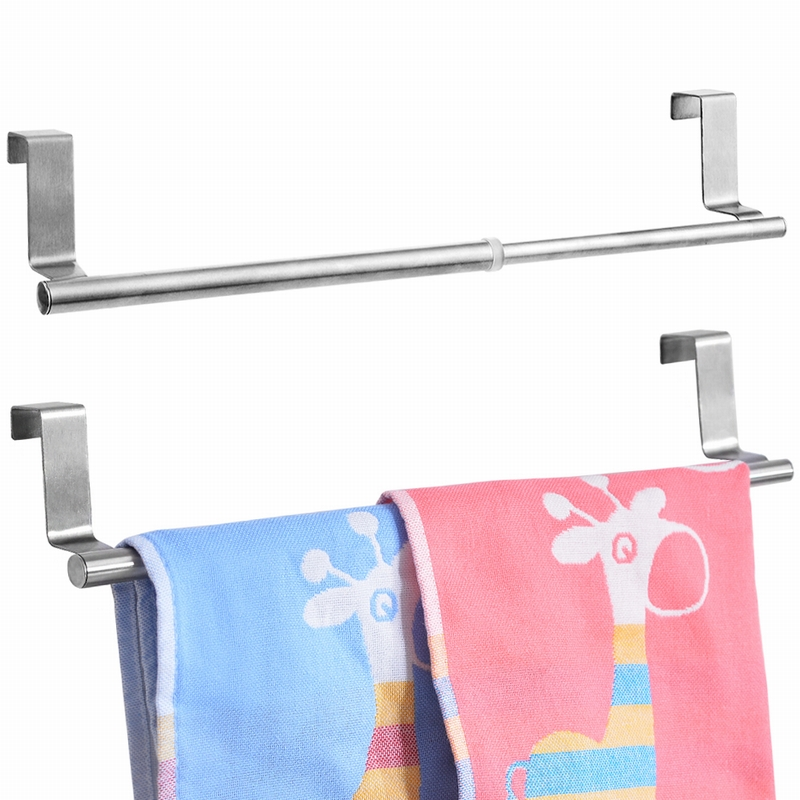 2 Pcs Kitchen Bathroom Multi-function Towel Rack Stainless Steel Door-back Towel Hanging Rack  Kitchen Cabinets  Storage Racks