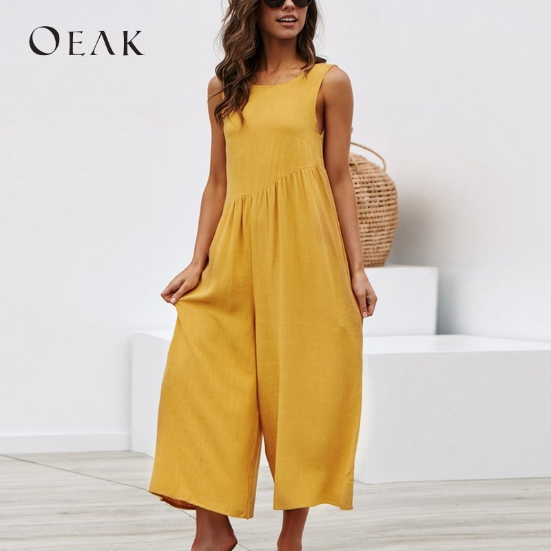 Oeak Women Casual Sleeveless   Jumpsuits   Summer Solid Wide Leg Loose   Jumpsuit   with Pocket Rompers Sexy Lady Playsuits