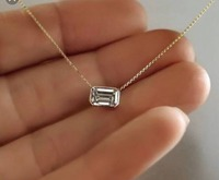 0.7ct 6*4mm VVS1 DEF Emerald Cut 14K yellow Gold Moissanite Pendant With 14K Gold Chain Necklace For Women in Fine Jewelry