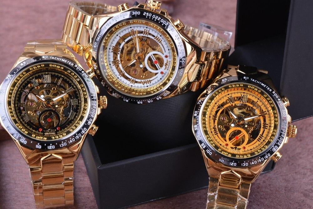 Winner New Number Sport Design Bezel Golden Watch Mens Watches Top Brand Luxury Montre Homme Clock Men Automatic Skeleton Watch 8