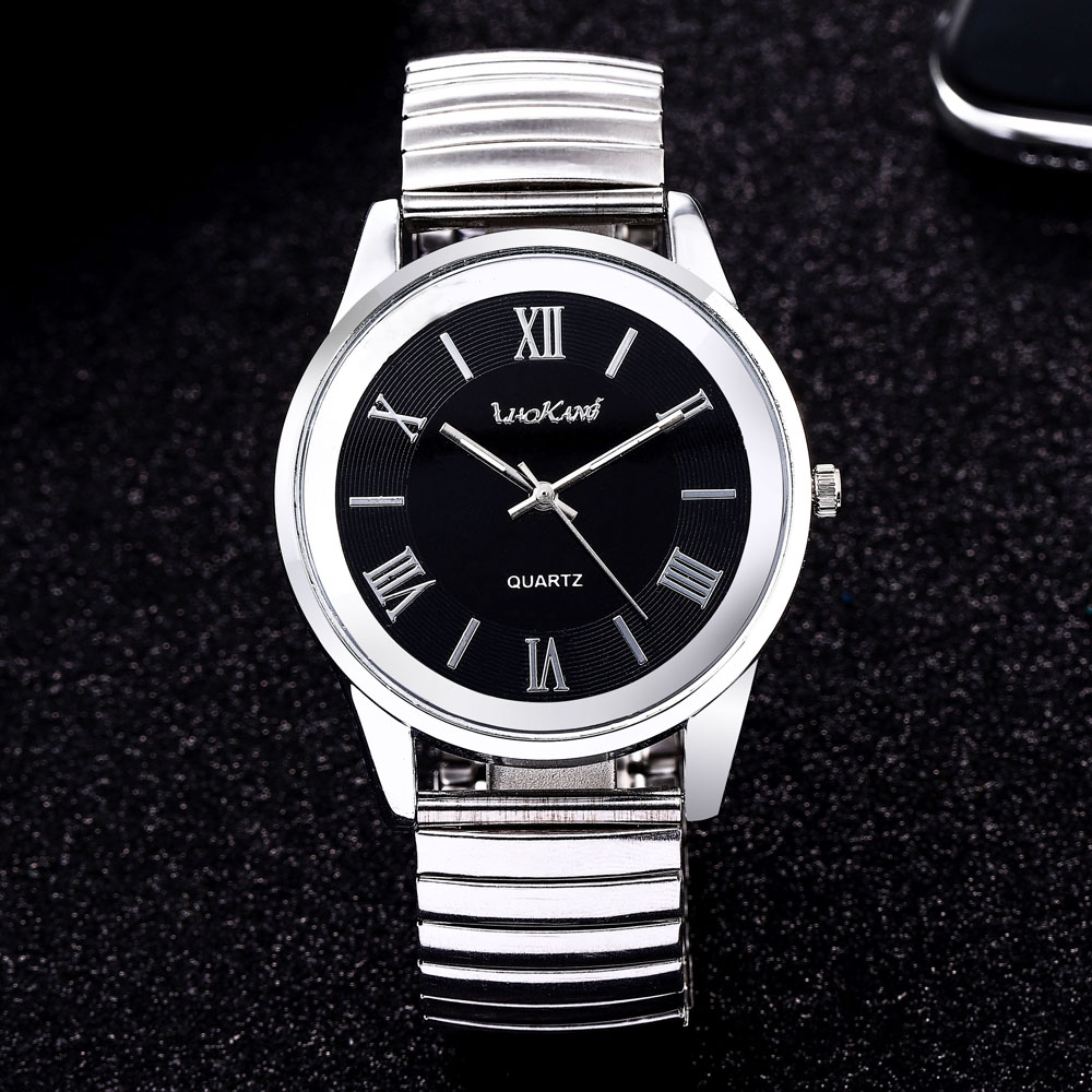 2020 Fashion Business Women Men Elastic Gold Sliver Quartz Watch Tide Lovers Couple Party Office Bracelet Watches Gift