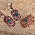 Blucome Quadrado Do Vintage Flor Verde Conjuntos de Jóias Para As Mulheres Banhado A Ouro Brincos Dangle Set Anel Anéis Largos Africano Beads Bijoux
