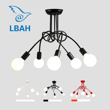 LBAH Creative Black & white 5 holders E27 with bulbs ceiling lamp vintage personality modern brief led light