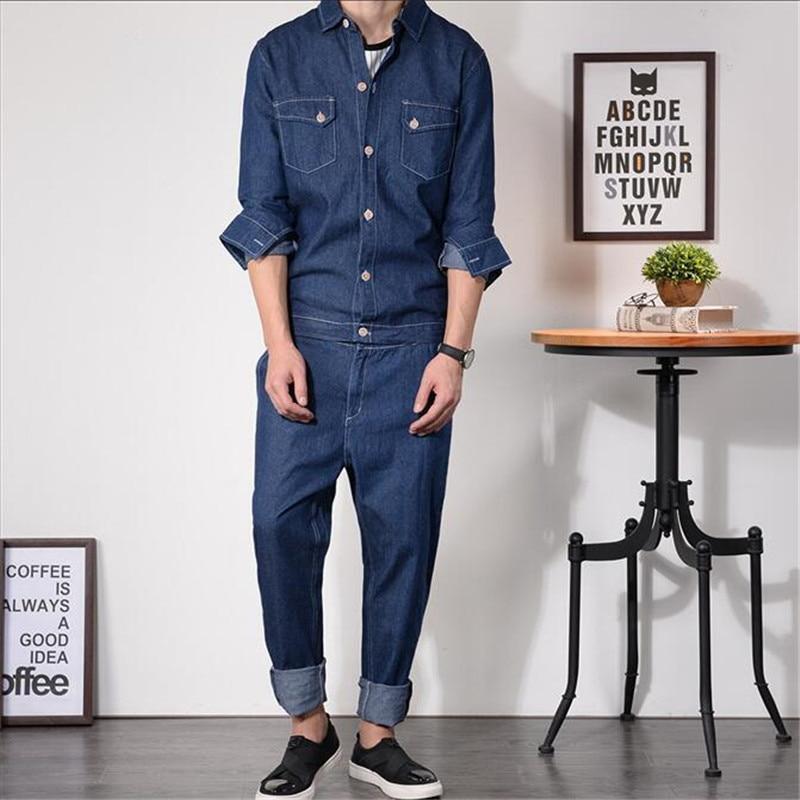 Hip Hot Rompers Jumpsuit Pants Vintage Jeans Man Overalls Slim Denim Rompers Autumn Fashion Print Solid Color Trousers A5209