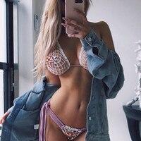 2018 Sexy Crochet Bijou chaîne tie side halter Bikini deux pièces Maillot de Bain femme Brésilienne Maillots De Bain femmes maillot de bain Baigneur