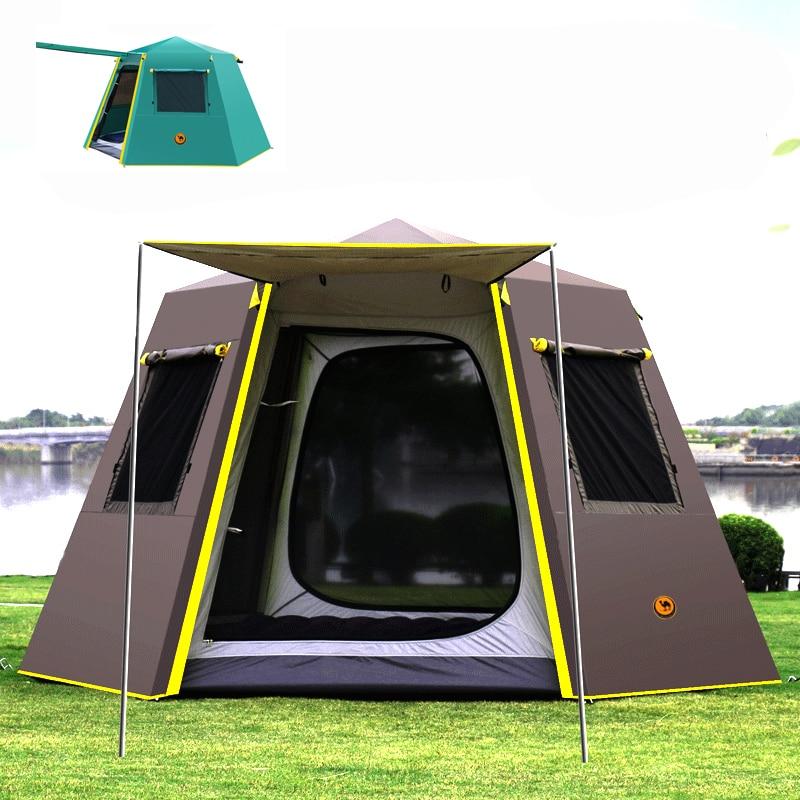 UV hexagonal en aluminium pôle automatique en plein air camping sauvage grande tente camping tente camping 4-6 personnes auvent jardin pergola