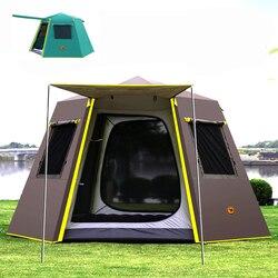 UV hexagonal poste de aluminio automático al aire libre camping salvaje grande tienda camping tienda de campaña 4-6persons toldo pérgola jardín