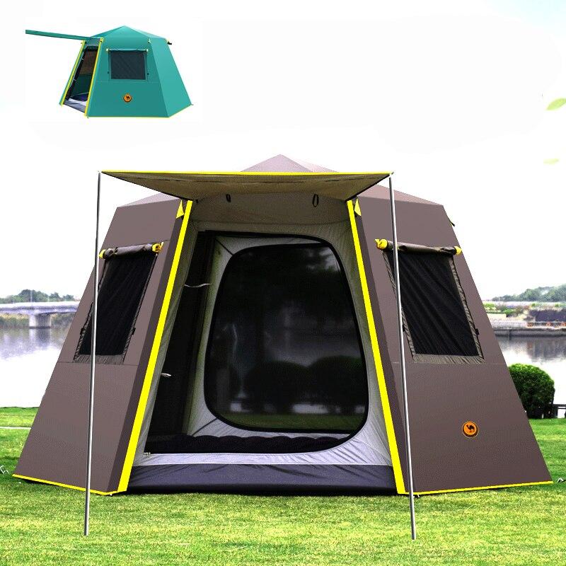 UV hexagonale en aluminium pôle automatique camping En Plein Air grande tente sauvage tente de camping camping 4-6persons auvent jardin pergola