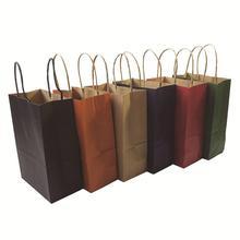40PCSกระดาษคราฟท์ของขวัญกับจับ/ถุงช้อปปิ้ง/คริสต์มาสสีน้ำตาลบรรจุถุง/คุณภาพดีเยี่ยม21X15X8cm