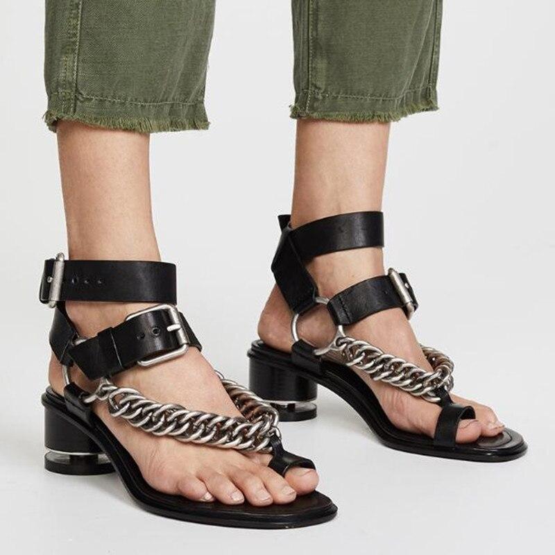 2019 New Summer Genuine Leather Chain Roman Sandals Female Cross Straps Retro Crude Heel Open Toe