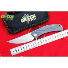 Green thorn JEANS Flipper folding font b knife b font m390 steel TC4 Titanium handle outdoor