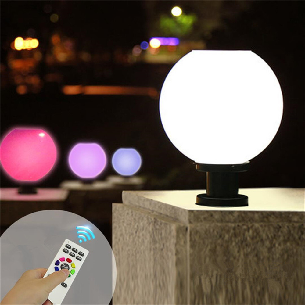 Outdoor courtyard pillar lights Remote Control Dimming White+8 Color led solar pillar light ball shape landscape home fence lamp