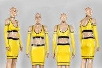 Новый Дизайн Блестящий латекс наряд сексуальное женское белье латекса юбка с топ и длинные перчатки из латекса ночной клуб одежда желтое пл