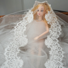 Wedding veil bridal shawl lace trim delicate! Scallop cording lace eyelash border trimming cord lace off white 6 meters=2 pieces scallop crochet trim flounce bardot top