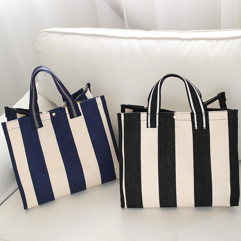 Bags for Women 2018 New Canvas Bag Handbags Laptop Striped Shoulder Mochila