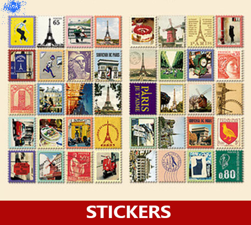 Vintage European Paris Stamp Stickers 80pcs Different Stamp Stickers For Scrapbooking , Decoration , Daily Memo