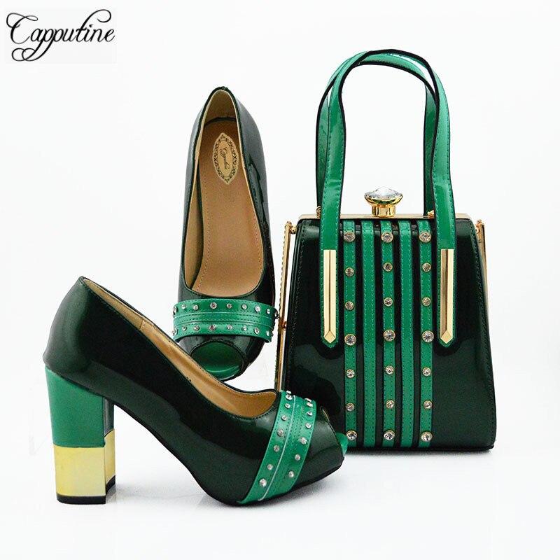 Włoski styl Rhinestone buty i pasująca torba zestaw lato moda damskie szpilki buty i torba zestaw dla sukienka na imprezę MD010 w Buty damskie na słupku od Buty na  Grupa 1
