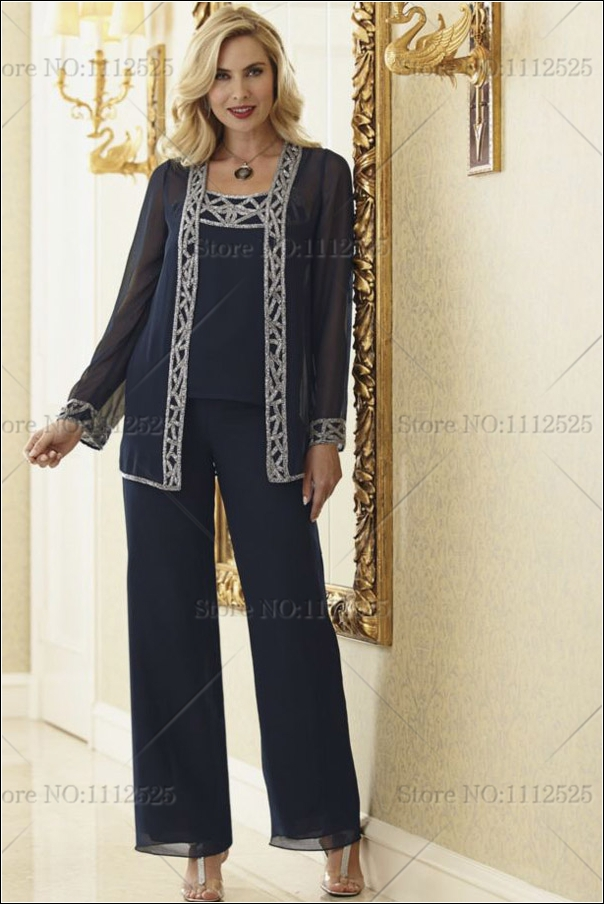 a40d6d11256 2014 mother of the bride pant suits Plus Size With jacket Customize ...
