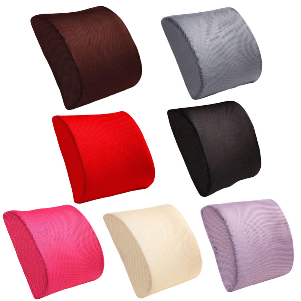 Memory Foam Breathable Healthcare Lumbar Cushion Back Waist Support Travel Pillow Car Seat Home Office Pillows Relieve Pain the space memory cotton car waist cushion summer pillow headrest backrest