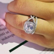 vintage cushion cut zirconia 925 sterling silver wedding ring