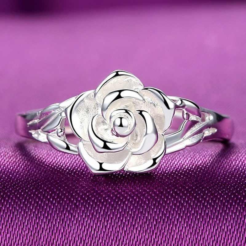 OMHXZJ Großhandel Europäischen Mode Frau Mädchen Party Hochzeit Geschenk Silber Rose S925 Sterling Silber Ring RR289
