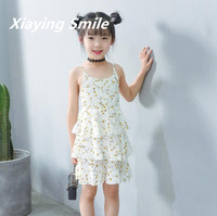여자 드레스 여름 멜빵 드레스 조끼 드레스 아이 옷 달콤한 인쇄 꽃 느슨한 패션 캐주얼 어린이 의류