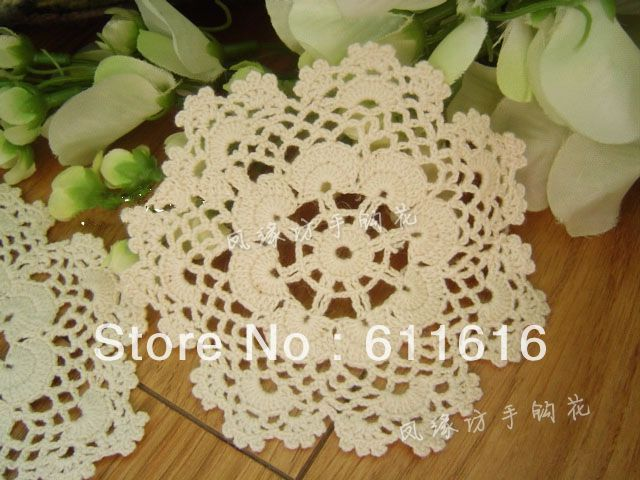 Free shipping wholesale hand made Crochet cup mat,100% cotton Ecru Doily ,cup pad,coaster ,place mat 10CMX10CM 20PCS/LOT
