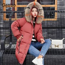 цена на Genuo Casual Autumn Winter Jacket Coat Women Parka 2018 Long Thick Warm Coat Female Plus Size Hooded Fur Collar Outwear 3XL