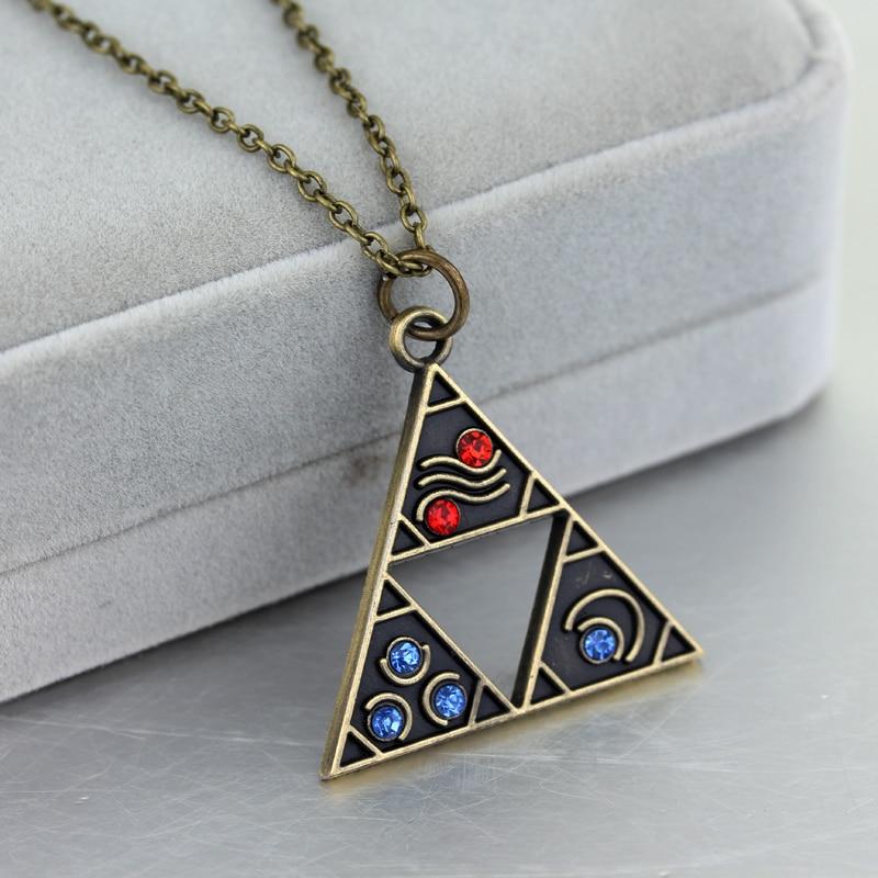 SC Hot Sale Legend of Zelda Pendant Necklace Vintage Crystal Geometric Triforce Choker For Women Men Necklaces