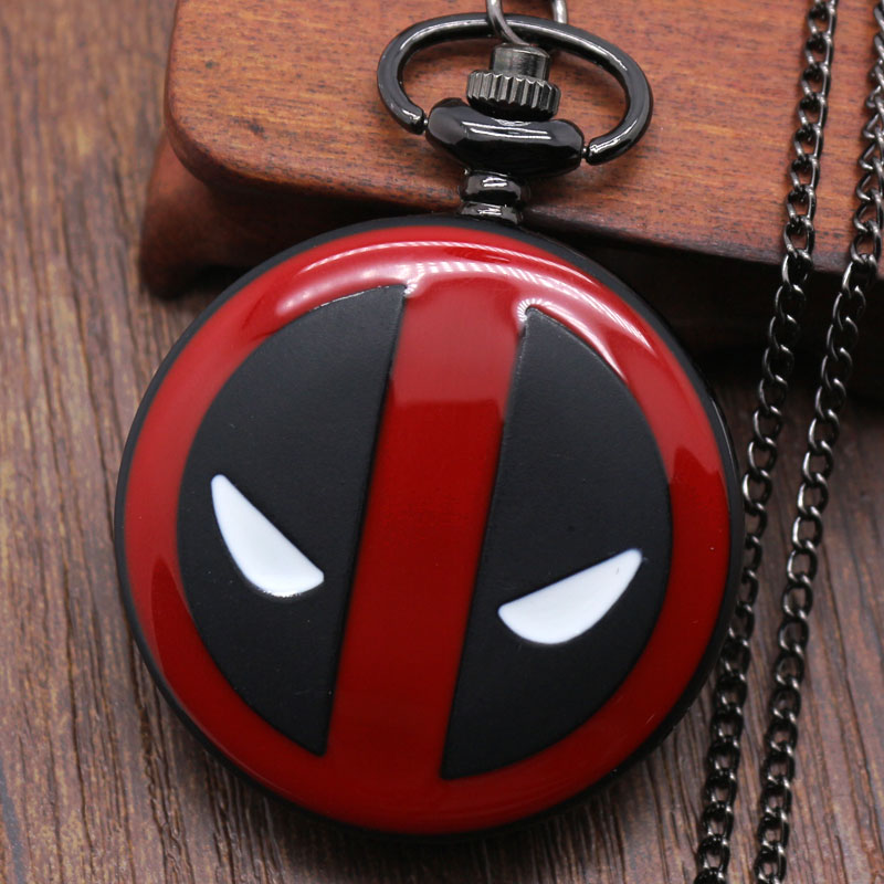 Cool Fashion Deadpool Theme Fob Pocket Watch With Black Chian Necklace Best Gift To Children fashion classic smooth vintage black steel women mens arabic numbers fob pocket watch with short chain best gift to men women