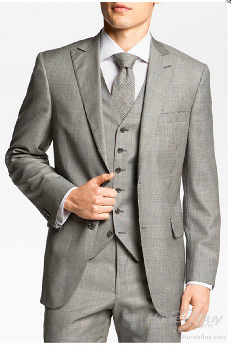 Custom Made Light Grey Color Tuxedos Gentlemen Style