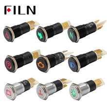цена на FILN 14mm 12v 24v symbol dash panel warning light indicator lamp metal car boat led dashboard indicator light signal lamp black