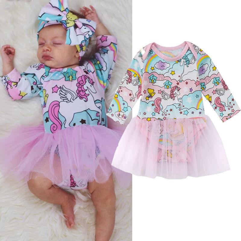 Newborn Kid Girls Clothes Unicorn Romper Dress Jumpsuit Tutu Dress Long Sleeve Sunsuit Clothes day dress